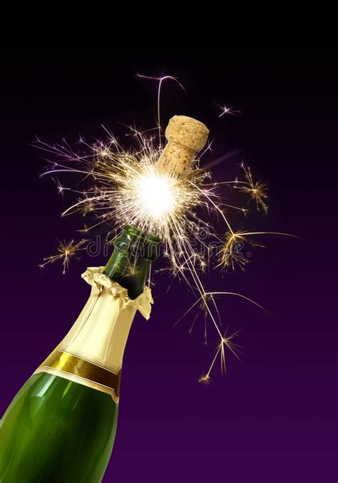 Champagne cork popping stock image