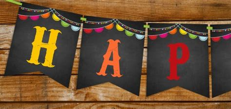 Mexican Fiesta Happy Birthday Banner Instantly Downloadable