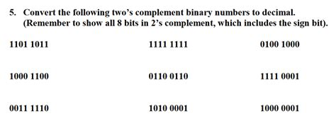 Solved: Convert The Following Two's Complement Binary Numb