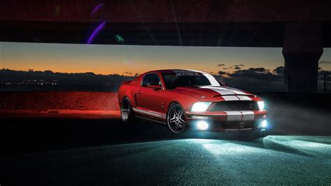 Wallpaper Ford Mustang Shelby GT500, speed, night, red