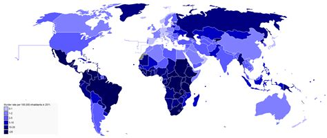 Number of (privately owned) guns per capita by country