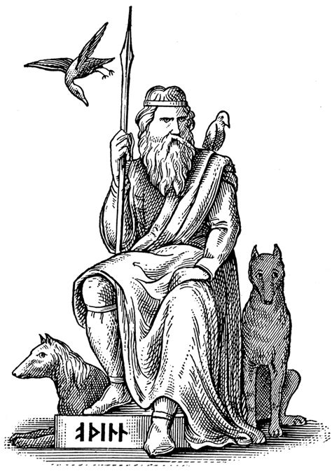 Woden or Odin, Germanic and Norse God, Seated with His