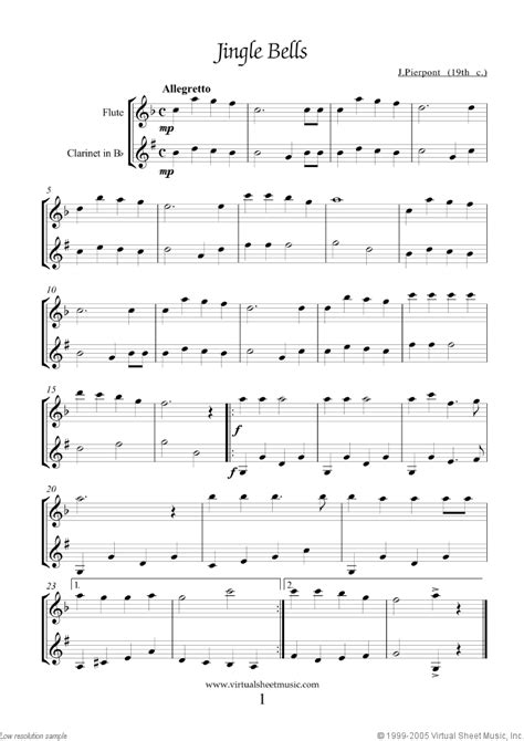 Easy Flute and Clarinet Duets Sheet Music Songs [PDF]