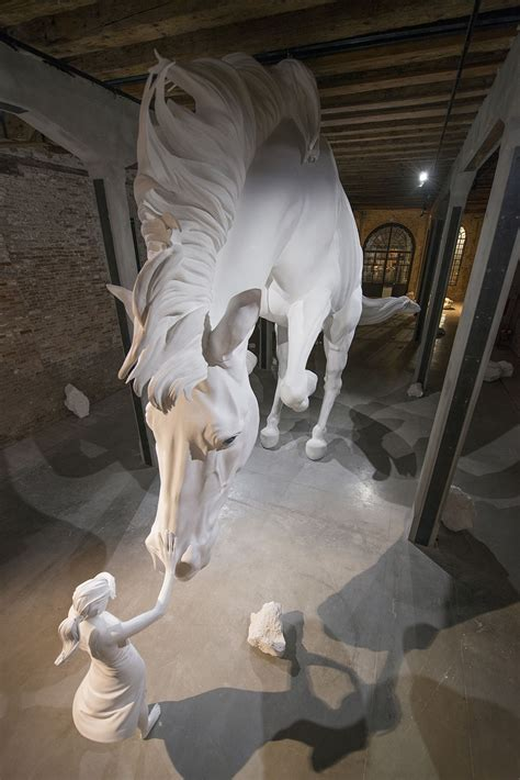 A Girl Encounters a Giant White Horse Frozen in Mid-Air